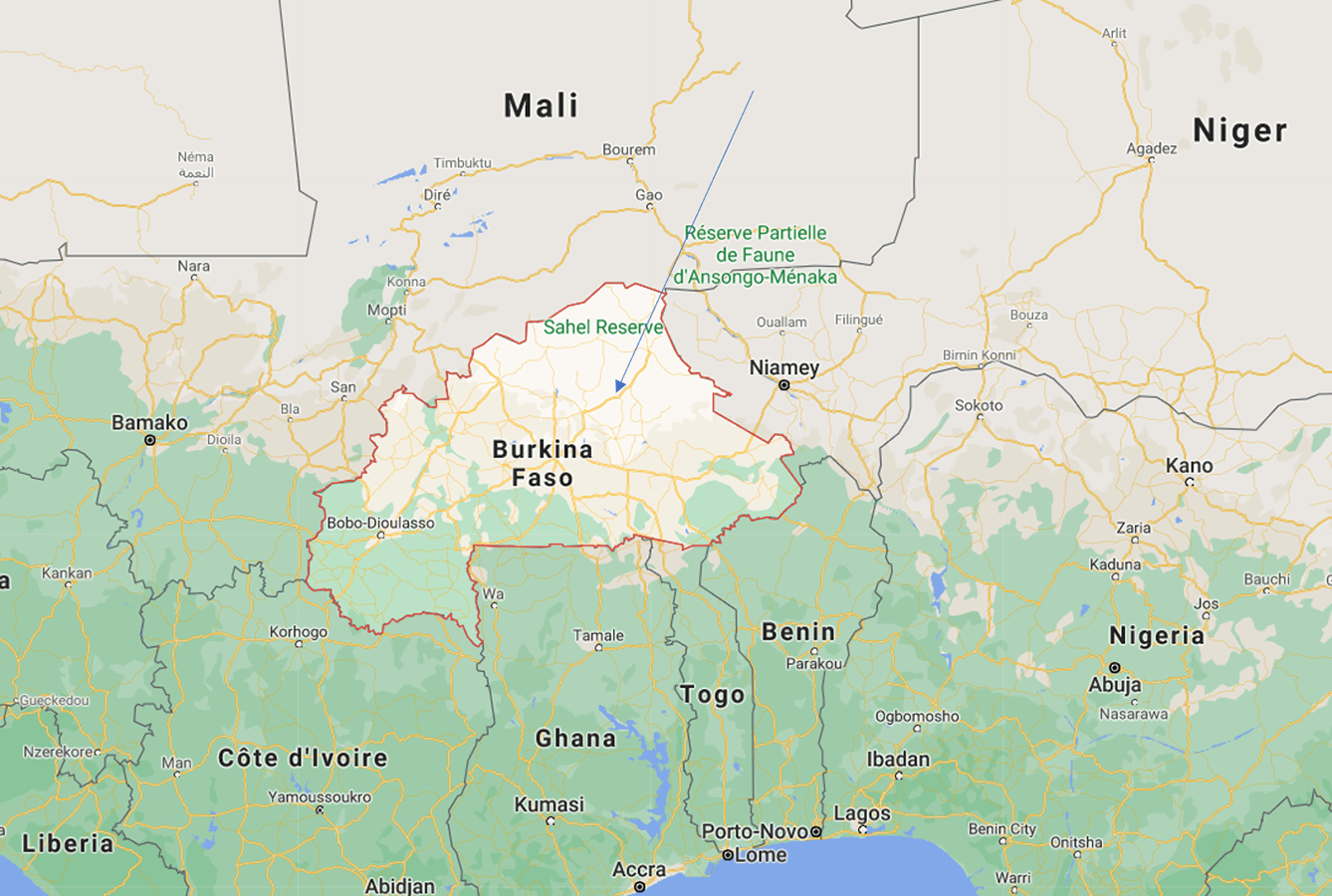 Map of West Africa, highlighting Burkina Faso