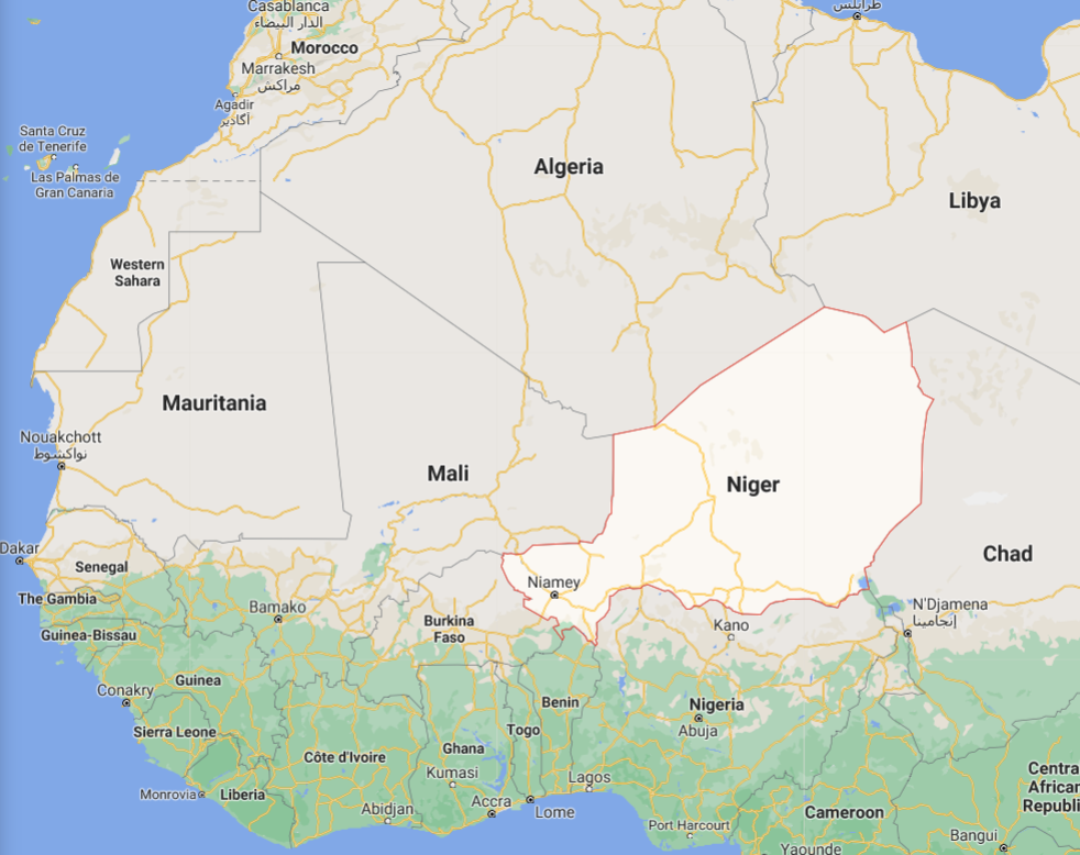 Map depicting geographic location of Niger within West Africa