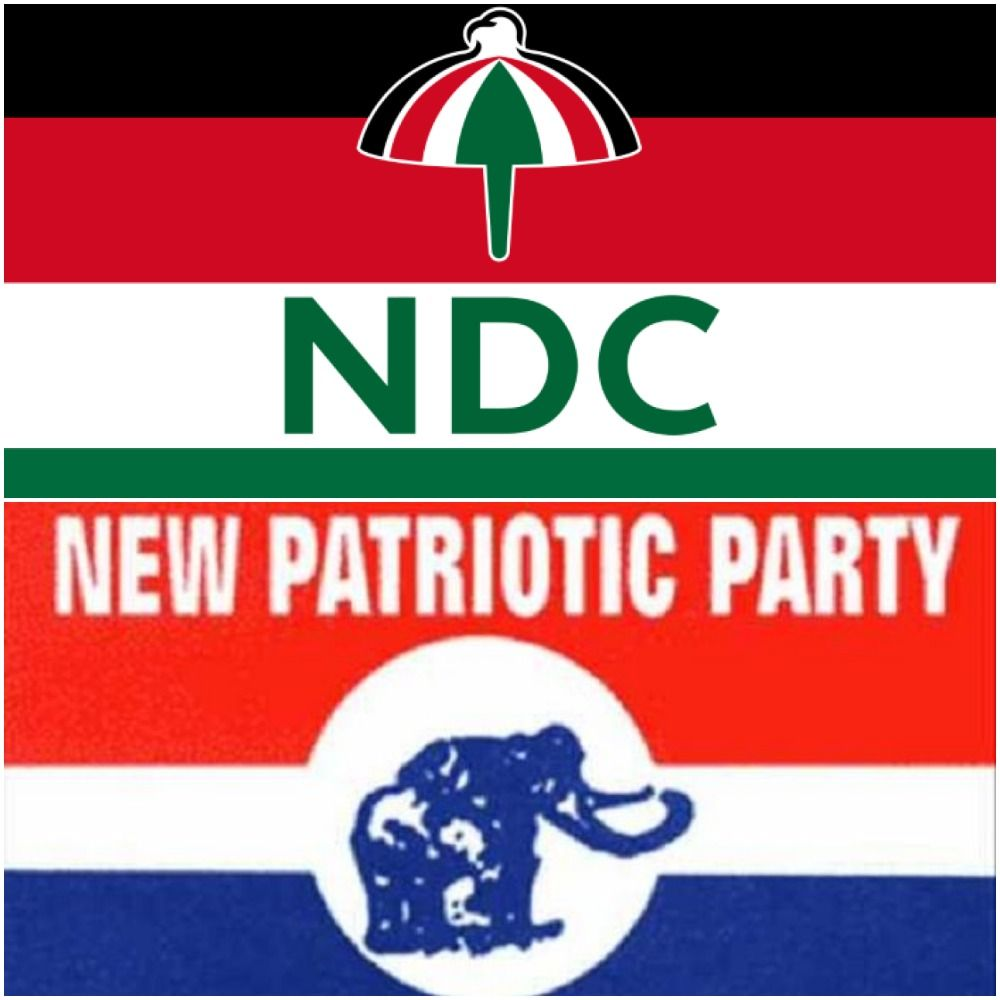 A graphic displaying the flags for the National Democratic Congress (NDC) and New Patriotic Party (NPP), the two largest in Ghana